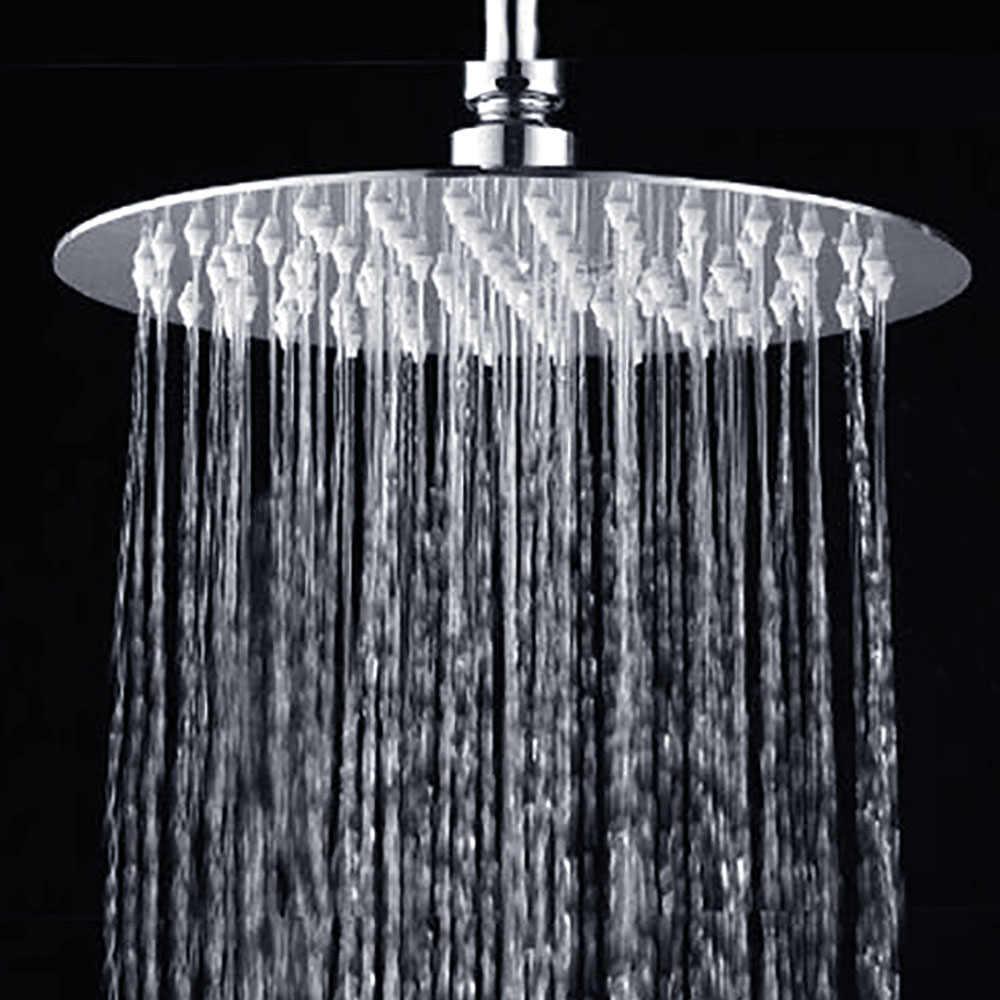 Chrome 8 inch Rain Shower Head Square Overhead Spray Stainless Steel Utrathin