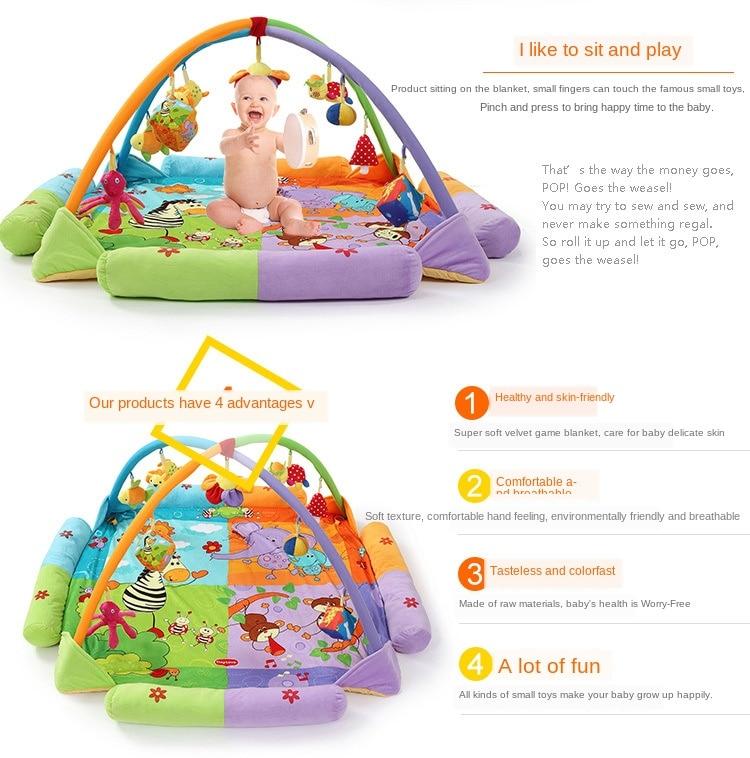 atividade do bebê ginásio macio portátil cama jogos cobertores 130x130cm
