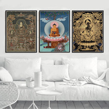 Filme clássico sakyamuni thangka budismo buda poster imprime pintura a óleo quadros de parede da lona decoração para casa schilderij obrazy