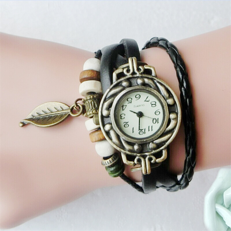 Women Girl Vintage Watches Bracelet Wristwatches Leaf Pendant Leather Bracelet Lady Womans Wrist Watch Gift Women Watch