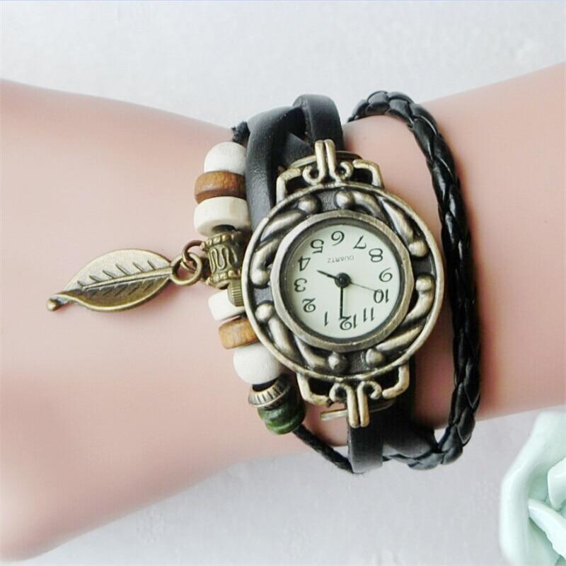 Women Girl Vintage Watches Bracelet Wristwatches Leaf Pendant Leather Bracelet Lady Womans Wrist Watch Gift Women Watch
