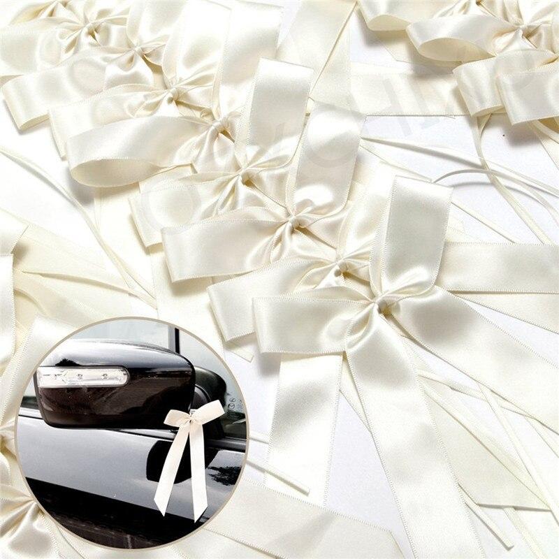 50pcs Grosgrain Satin Ribbons Wedding Decoration Bow Knots Ribbon Party Cars Chairs Decoration Bowknots 2 Colors AA8303-1