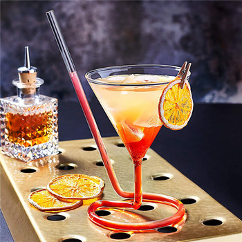 110ML Creative Screw Spiral Straw Molecule Cocktail Glass Bar Party Goblet Martini Champagne Coupes Vaso Wine Glasses Charms