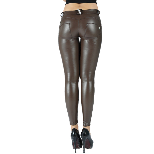 Melody eco leather legging seamless pants full length faux leather maroon leggings women joggers mid rise button fly 10