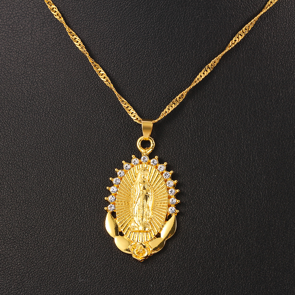 Религиозный с Девой Марией, ожерелье блеск с украшением в виде кристаллов женские воротник амулет гвардии кулон женских украшений Дева Мария Гваделупская