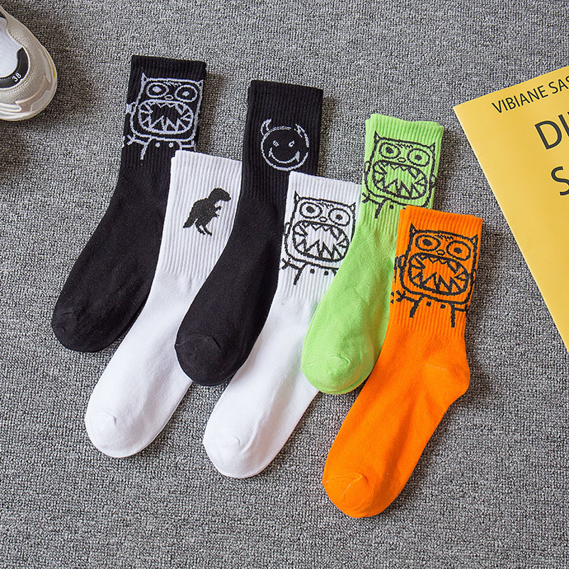 Socks Men And Women Couples Grimace Tall Hip-hop Wild Fashion Cartoon Anime Korean College Style Street Happy Funny Socks