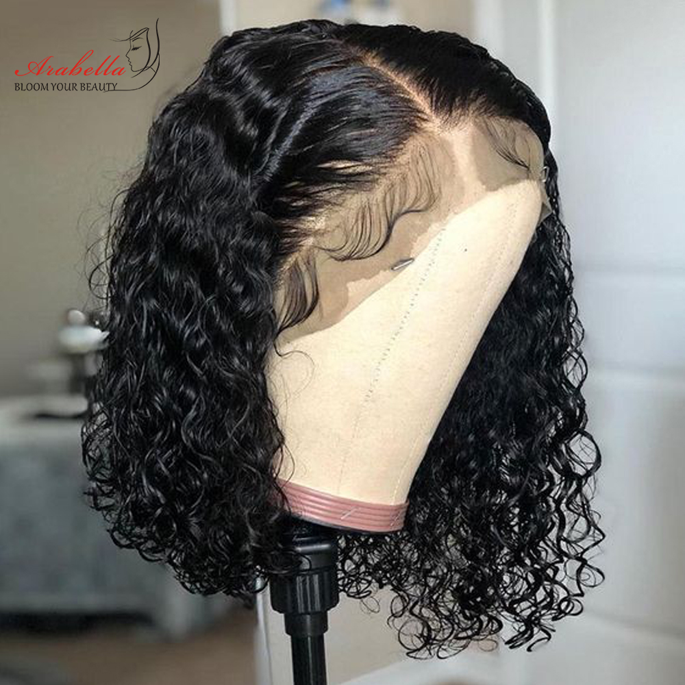 Water Wave Bob Wig Lace Front  Wigs Short Bob Wig  Pre Plucked Bleached Knots Wig Water Curly Bob Wig 1