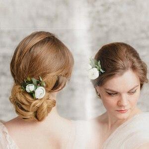Biały/kwiat czerwonej róży grzebienie do włosów biżuteria ślubna dla nowożeńców kobiety Prom chluba urok akcesoria do włosów spinki do włosów klipsy