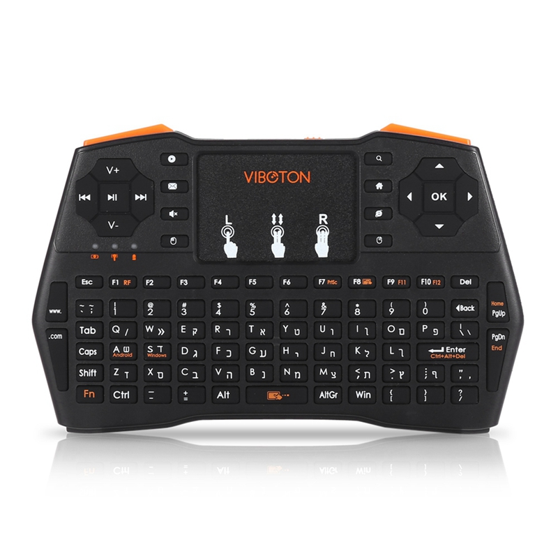 Viboton 2.4G Wireless I8 Plus Hebrew Keyboard Touchpad Fly Air Mouse Mini Gaming Keyboard For Windows Android Tv Computer