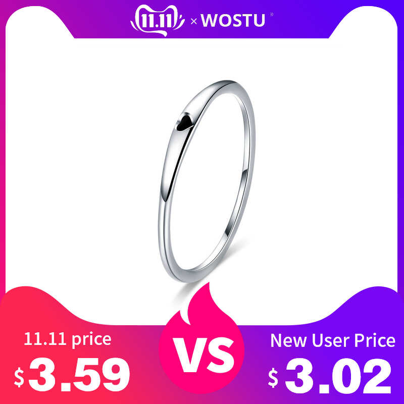 WOSTU Genuine 100% 925 Sterling Silver Simple Love Ring For Women Anniversary Engagement Unique Birthday Jewelry Gift FIR468