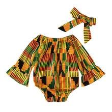 Комбинезон с длинными рукавами и принтом в африканском стиле для маленьких девочек; боди для волос; Одежда для девочек; детская одежда; Одежда для девочек