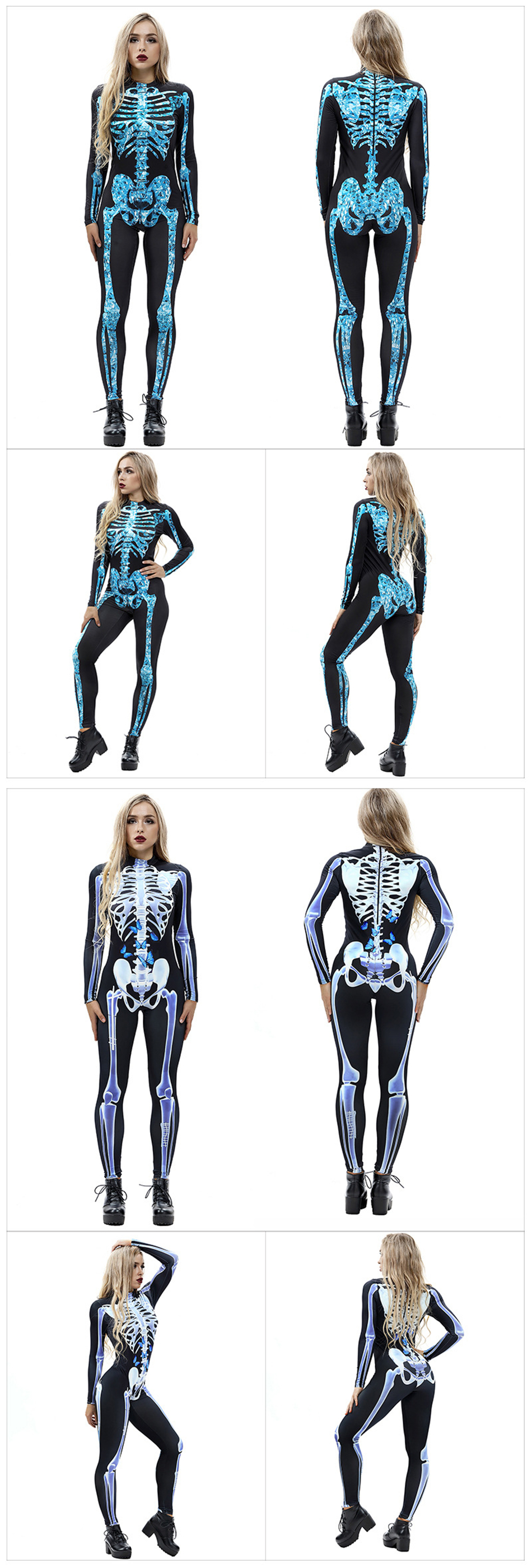 H3e211f1db2e64b85a283a7dc9b830b575 - 8Style Halloween Cosplay Costumes for Women Adult Scary Skeleton Bodysuit Print Long Sleeve Carnival Party Ghost Skull Dress