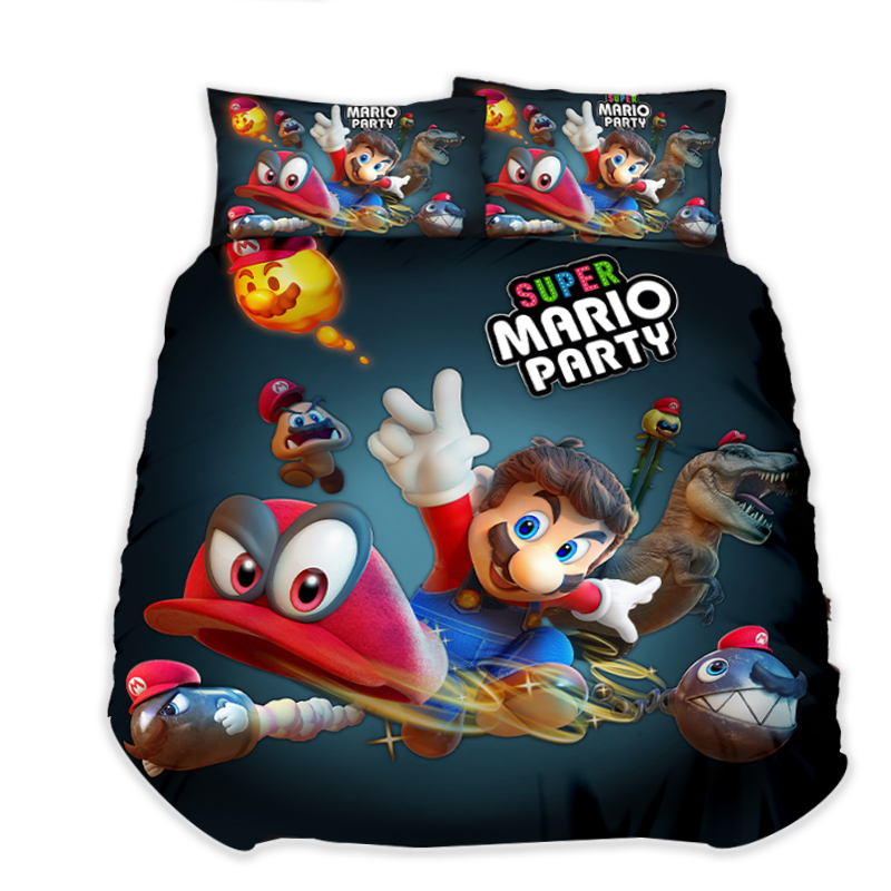 Super Mario Bros Cool housses de couette taies d'oreiller Mario enfants chambre décor couette ensembles de literie literie lit livraison directe