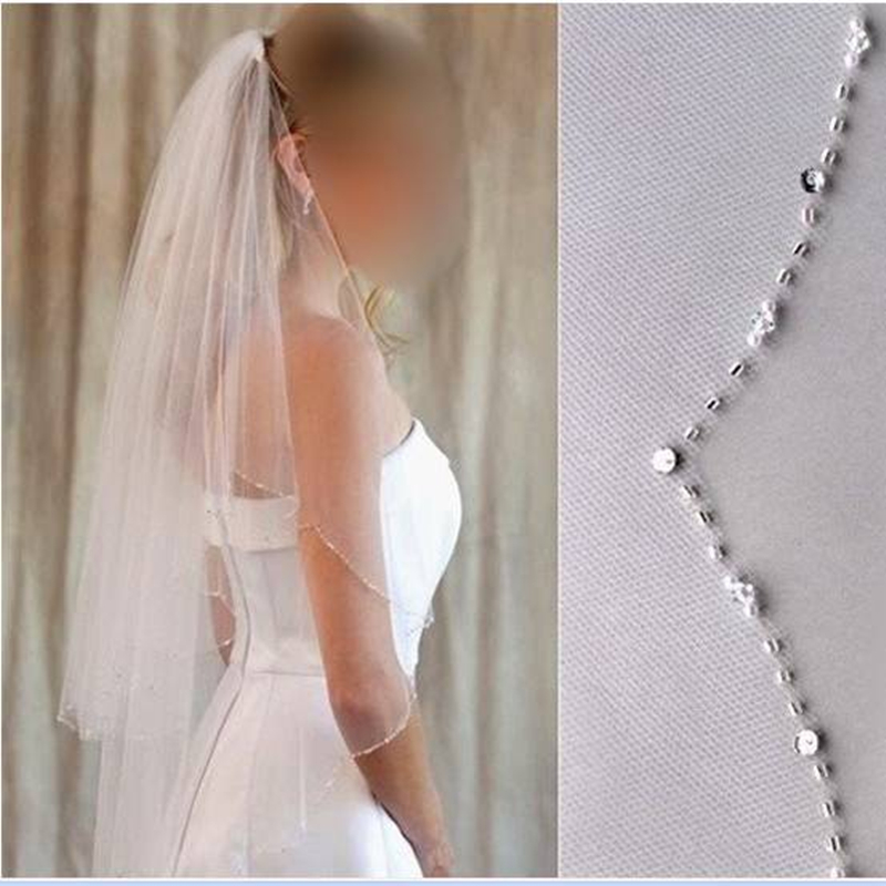 Promotion! Free Shipping High Quality Wedding Accessories Elegant Waist Length Tulle Two-layer Beading With Comb Wedding Veils