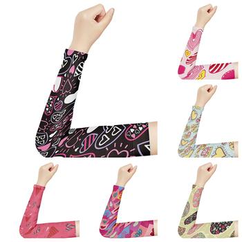 Dziewczyny różowa miłość drukowane ocieplacze na ręce słońce ochrona UV kompresja osłona dłoni jazda na rowerze bieganie siatkówka oddychające rękawy lodowe tanie i dobre opinie CN (pochodzenie) 38cm BX-60 NYLON WOMEN Arm Warmers Sun Sleeves UV Protection Sleeves Compression Hand Cover Ice Sleeves