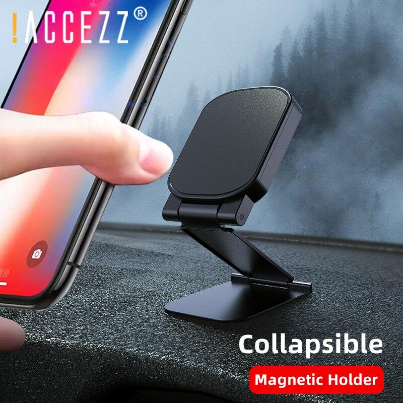 !ACCEZZ Magnetic Car Phone Holder Dash Board Universal Magnet CellPhone Stand Folding Adjustable Bracket Support Desktop Stent