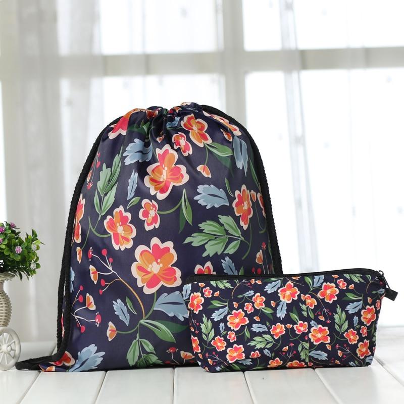 Backpack Suit Drawstring Drawstring Bags Fashion  Printing Men Casual Bags Unisex Women's Shoulder 3D Bag Bundle Pocket FLOWER