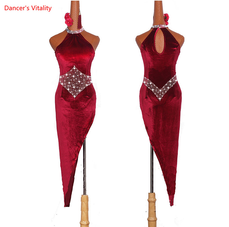 High Quality Latin Dance Dresses For Ladies Burgundy Elegant Oblique Skirt Women Ballroom Competition Dress Stage Costumes