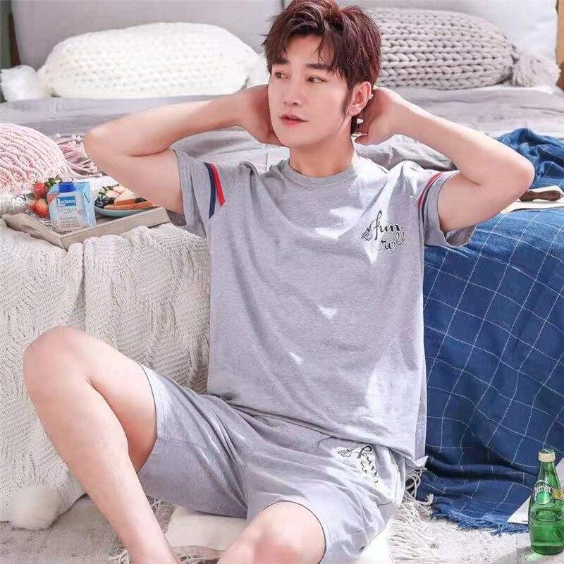 Summer New Knitted Cotton Short Sleeved Men Pajamas Sets Male Pajama Set Letter Pajama For Men Sleepwear Suit Homewear Size XXXL