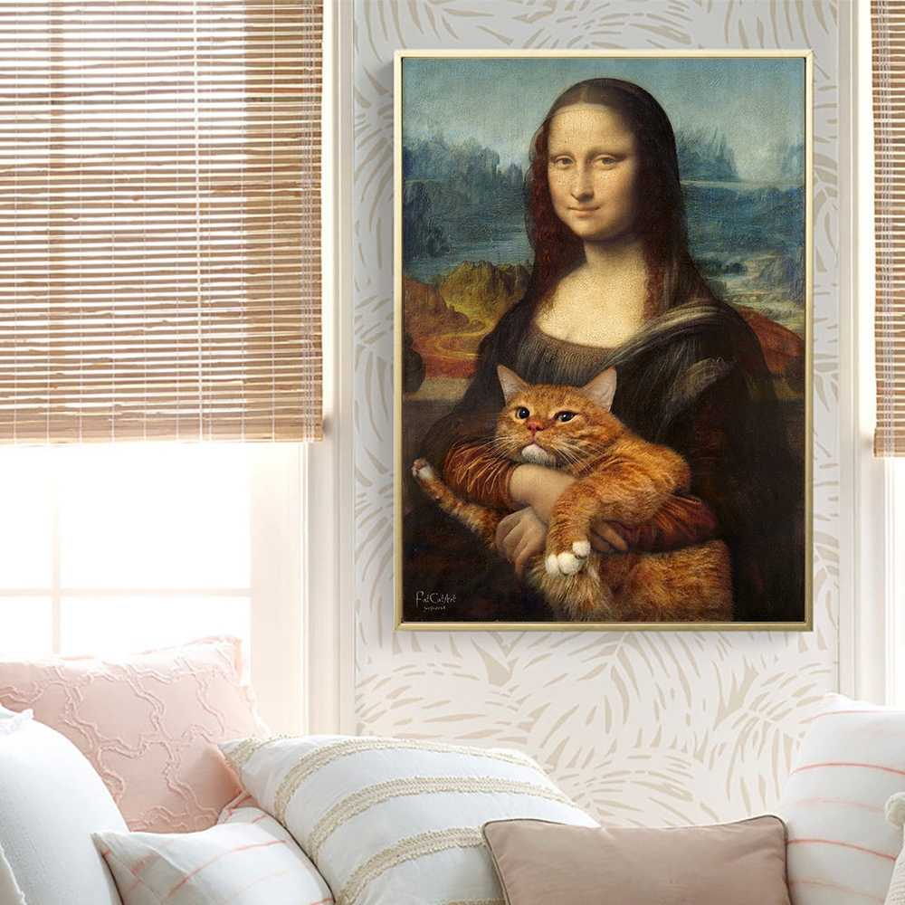 Mona Lisa And Cat Oil Painting Canvas Painting Posters And Prints Wall Art Pictures For Living Room Bedroom Decor Wall Decor