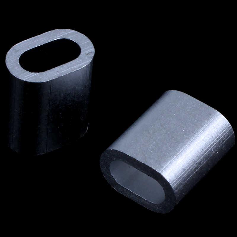 Promoção! 50 x de alumínio oval h uelsen braçadeiras para 2 mm fio corda imprensa braçadeira tom prata