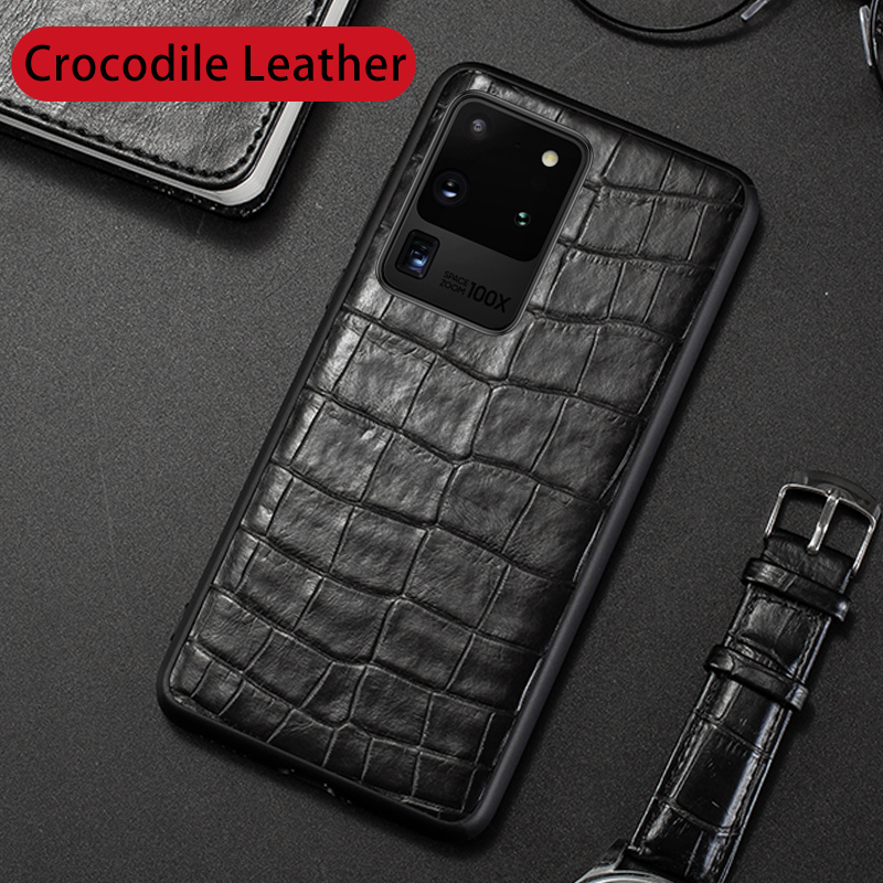 Natural Crocodile Leather Phone Case For Samsung Galaxy S20 Ultra S10 Plus S10e Cases Luxury Alligator Neck Belly Tail Cover