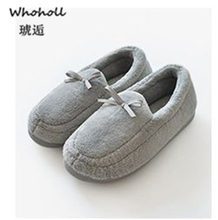 Whoholl Brand Winter Warm Plush Slippers Print Knitted Home Soft Bottom Cotton Women Shoes Indoor Woman
