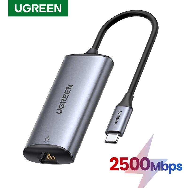 Сетевой адаптер Ugreen 2500 Мбит/с USB C Ethernet, 2,5 гигабитный Тип C к Lan RJ45 сетевая карта для MacBook iPad Pro USB-C Ethernet