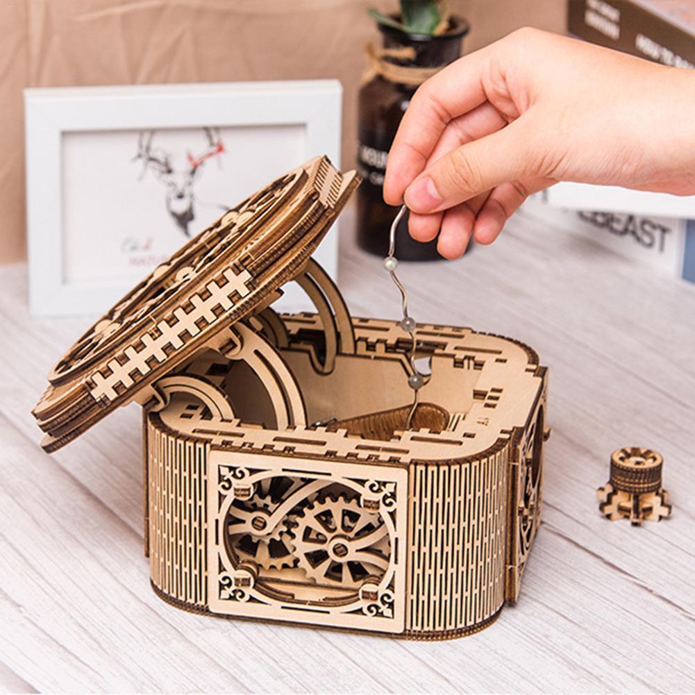Механические модели 3D деревянная головоломка Механическая Коробка С Сокровищами DIY деревянная коробка для хранения ювелирных изделий Рождественское украшение подарок на день рождения