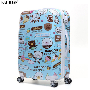 20'' kid's Cartoon rolling luggage ABS+PC 26 inch big bag Trolley suitcase on wheels Cabin luggage Student's carry on suitcase
