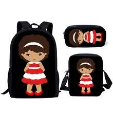 NOISYDESIGNS Kids School Bags Cute African American Black Queen Baby Printed Backpack Children 3pcs/set Schoolbag Satchel