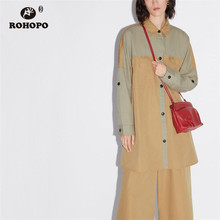 ROHOPO Patchaork Long Sleeve High Low Cotton Blouse Top Pockets Female Preppy Autumn Girl Loose Shirt #9556