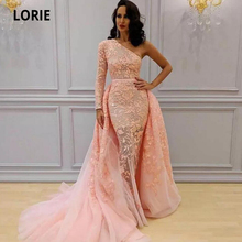 LORIE Pink African Evening Dresses Mermaid Overskirts One Shoulder Long Prom Dress Appliqued Tulle Celebrity Formal Party Gowns