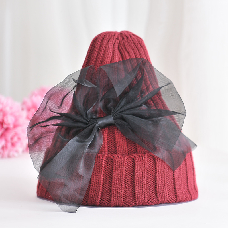 Korean New Beanie Children's Hat Sweet Lovely Princess Hat Girl Autumn Winter Hats Chiffon Big Bow Stretch Thread Knit Caps