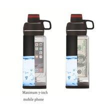 Garrafa de água de desvio com bolso do telefone segredo stash pill organizador pode seguro plástico tumbler & esconderijo local para dinheiro bônus ferramenta