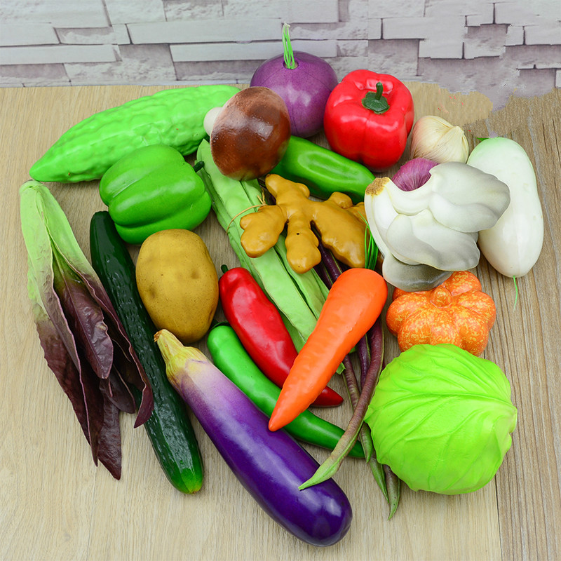 Multiple Style Mini Simulation Artificial Vegetable Pepper Pumpkin Garlic Fruit Fake Pretend Play Cutting Toy Home Decoration
