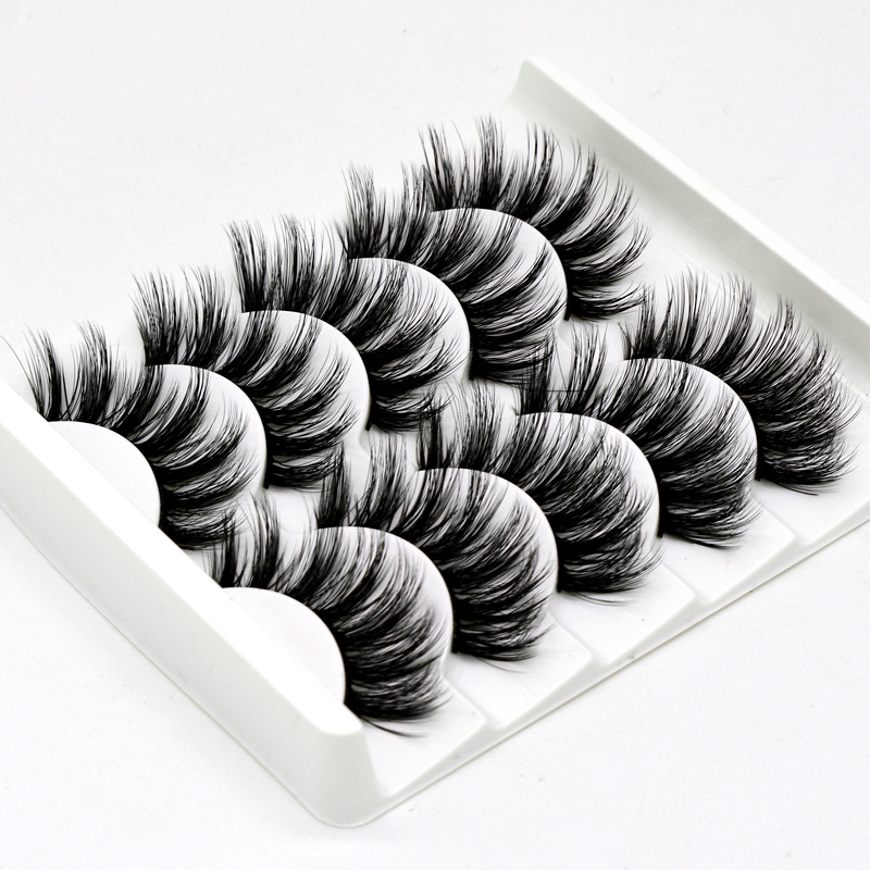 5 Pairs Of 3D False Eyelashes Handmade Soft Mink Eyelashes Natural Thick Long Eyelashes Makeup Extension Eyelash Tool