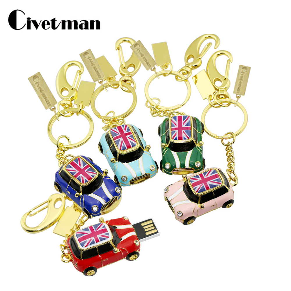 Cartoon USB Flash Drive Mini Cooper Car Model Pendrive 4GB 8GB 16GB 32GB 64GB 128GB USB 2.0 Memory Stick Pen Drive U Disk Gift