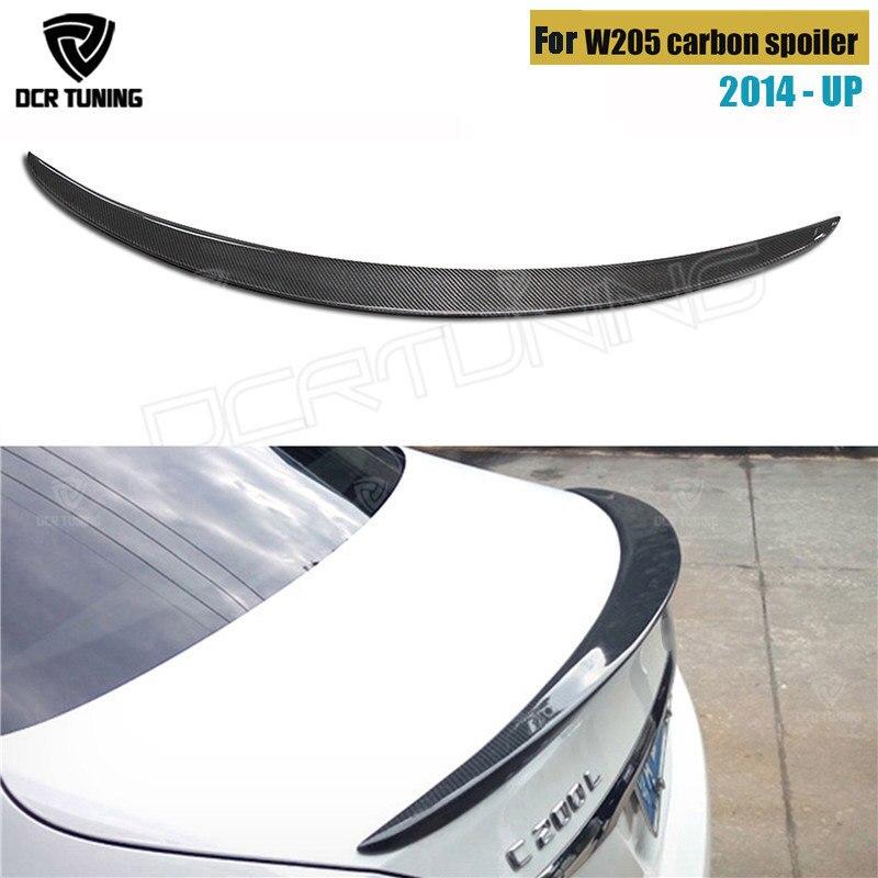 Pour Mercedes W205 Spoiler fibre de carbone arrière coffre aileron aile 2014 2015 2016-UP classe C W205 C250 C200 C180 C260 4 portes berline