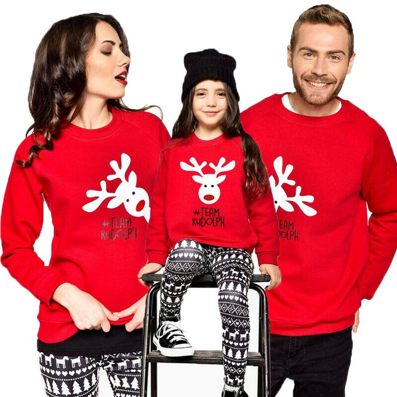 Family Matching Women Kid Christmas Casual Sweater Deer Ladies Fashion New Jumper Tops
