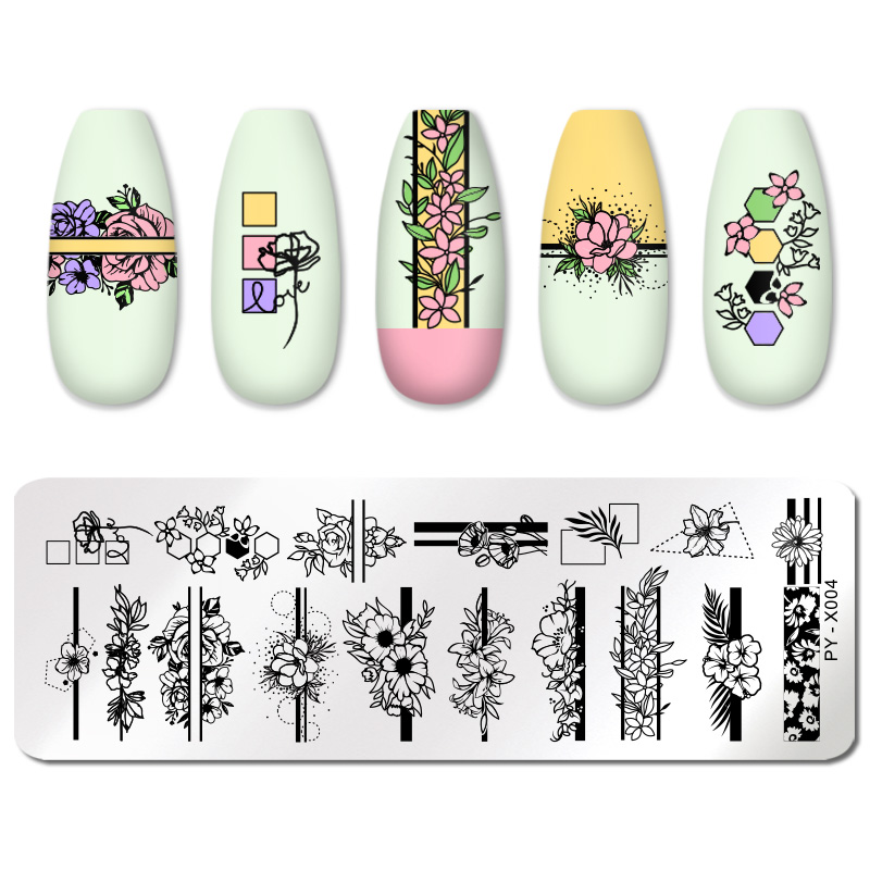 PICT YOU 12*6cm Nail Art Templates Stamping Plate Design Flower Animal Glass Temperature Lace Stamp Templates Plates Image 43