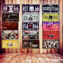 USA Vintage métal étain signes Route 66 voiture numéro Plaque d'immatriculation Plaque affiche barre Club mur Garage décoration de la maison 15*30cm A133