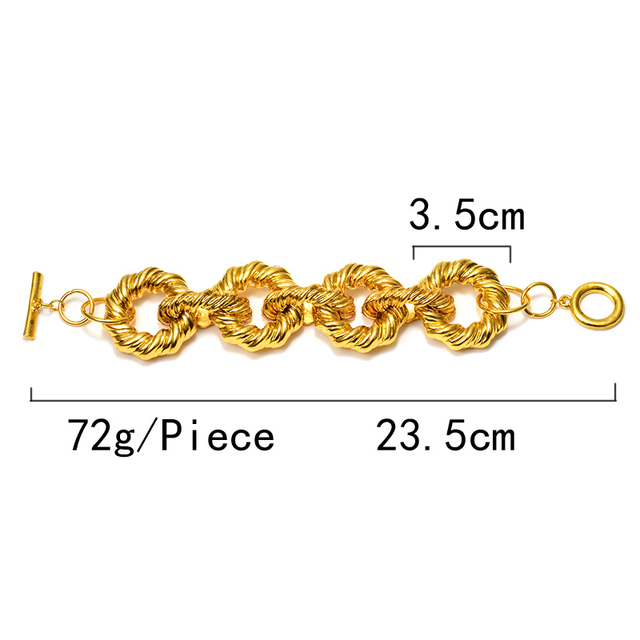 New Gold Metal Hoops Delicate Bracelet 6
