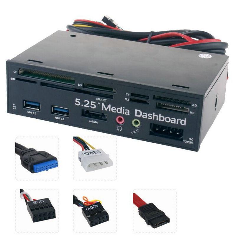 Multifunctional Media Panel 5.25 inch Computer Front Dashboard with SATA/eSATA, USB 2.0/USB 3.0, Microphone/Headphone Audio