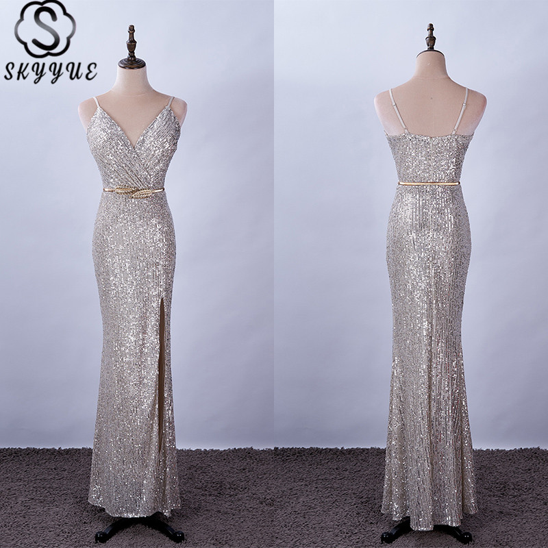 Skyyue Evening Dress V-Neck Spaghetti Strap Sleeveless Robe De Soiree Sequined Mermaid Plus Size Floor-Length Eveing Gowns K080