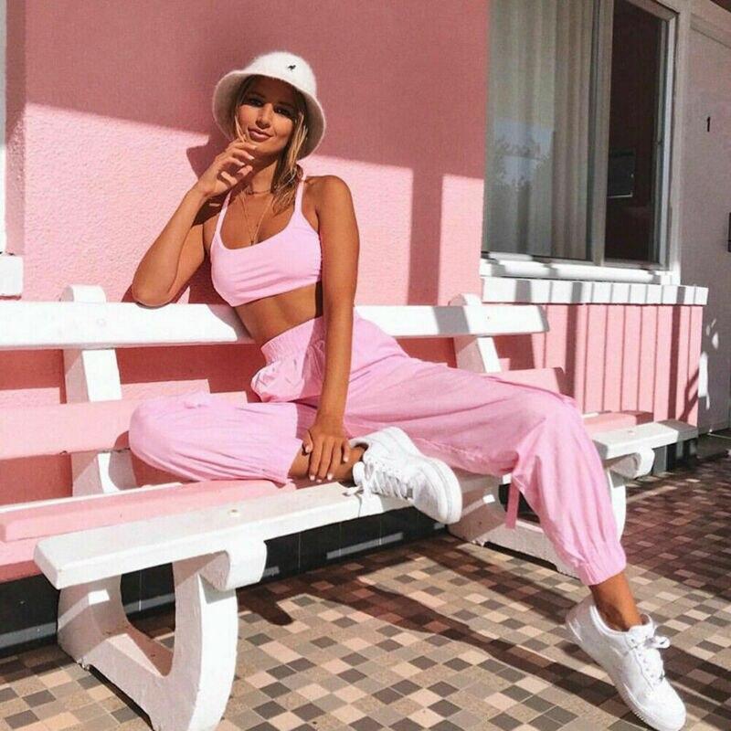 A forma Das Mulheres Verão Agasalho Rosa Colheita Top + Calça Esporte Ternos Outfits 2Pcs Folgado Solto