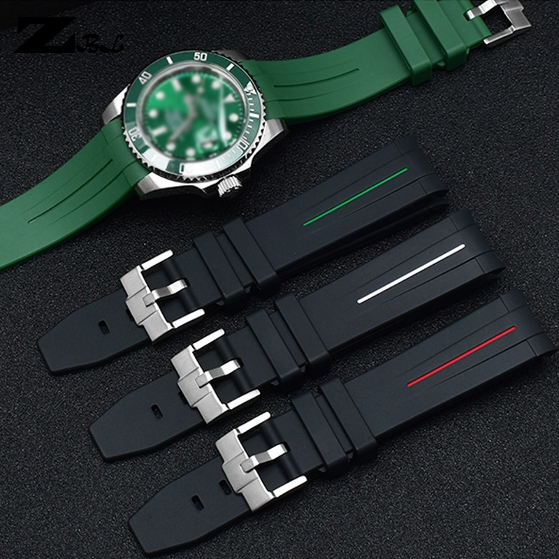 Curved End Silicone Rubber Watch Strap 20mm 21mm Watchband Waterproof Soft Watch Band Green Blue Color Wristwatches Band