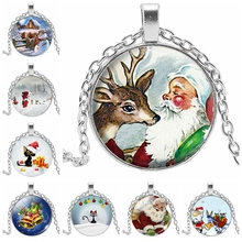 2019 New Merry Christmas Cat Necklace Santa Bell Elk Cartoon Art Printed Glass Bulge Pendant Gift