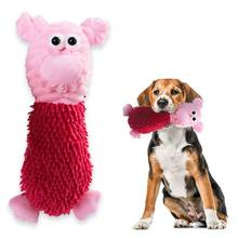 Cute Plush Squeaky Animal Doll Dog Bite-resistant Chew Molar Cleaning Teeth Toy Sound Mop Pig Shape Squeaking