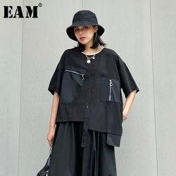 Женская Асимметричная футболка EAM, черная футболка с круглым вырезом и рукавами три четверти, на молнии, большие размеры, весна-лето 2020, 1T774
